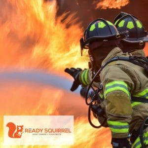 Two Fire Fighters, fighting fire