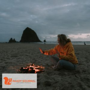 Girl and a beach fire