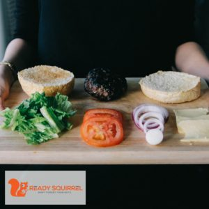 Carbs, protein and fats, hamburger ingredients