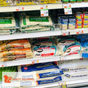 Packaged Rice on grocery store shelf