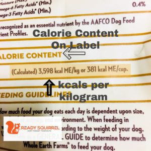 Dry Dog Food Label: calories per kg and per cup